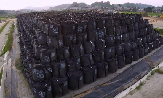 후쿠시마 원전 인근에 보관된 방사성 폐기물의 모습. 그린피스 홈페이지