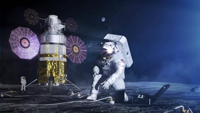 우주인이 달 표면에서 xEMU를 입고 작업하는 모습을 그린 상상도. NASA 제공.