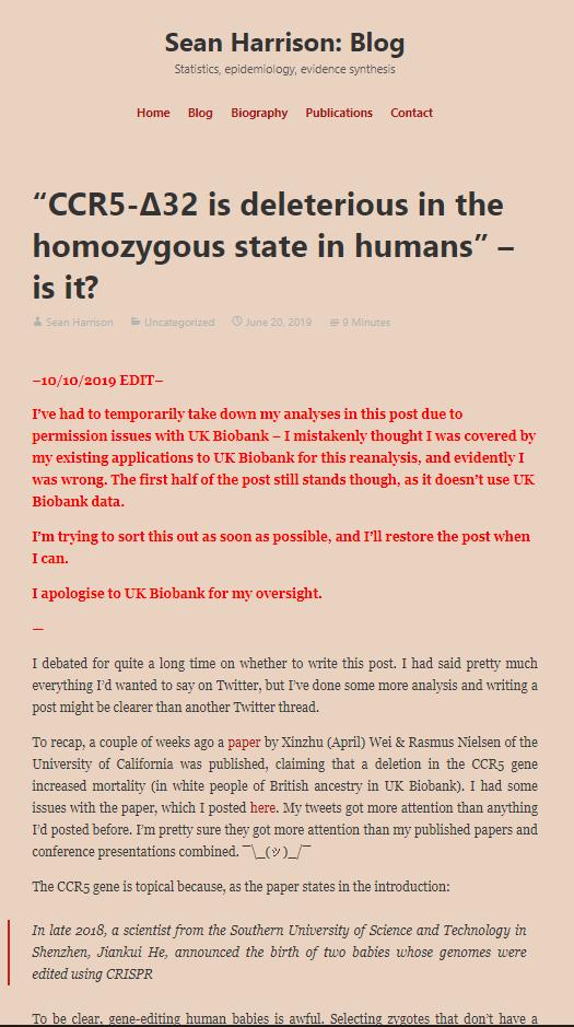 션 해리슨 영국 브리스톨대 의대 역학과 책임연구원은 6월 말에 발표된 닐슨 교수팀의 논문을 보고 몇 가지 오류를 찾아 본인의 블로그에 공개했다. 사진은 블로그에 쓴 글의 일부. 션 해리슨 블로그 캡처