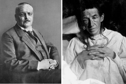 알츠하이머 박사(Aloiz Alzheimer,1864-1915)와 그의 첫 환자인 어거스트 데터(Auguste Deter). 위키피디아 제공