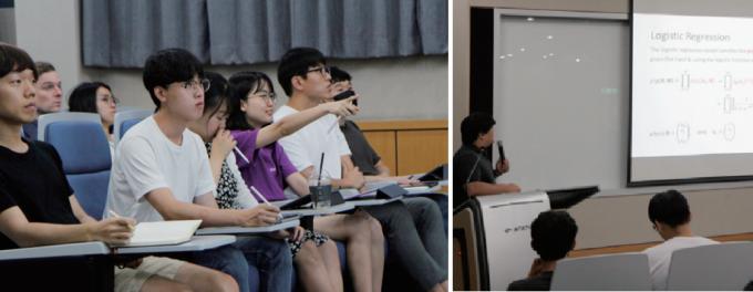 9월 7일 진행된 KAIST AI대학원의 ′인공지능을 위한 기계학습′ 수업 현장. 모든 수업은 처음부터 끝까지 100% 영어로 진행된다. 수업 주제는 AI와 기계학습을 연구하는 데 필요한 기초 수학이었다. 학생들은 강의시간 중 자유롭게 질문을 던지며 수업에 적극 참여했다. 신용수 기자