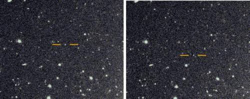 토성의 달로 관측된 천체를 1시간 간격을 두고 촬영한 사진이다. 주황색 막대로 강조한 토성의 달은 1시간 사이 멈춰 있는 배경 천체들과 달리 움직이는 것을 확인할 수 있다. 스콧 셰퍼드 제공