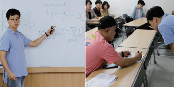 9월 11일 고려대 AI대학원 ′기계학습′ 수업 현장. 쉬는 시간에도 학생들의 질문이 멈추지 않을만큼 수업 분위기는 뜨거웠다. 신용수 기자