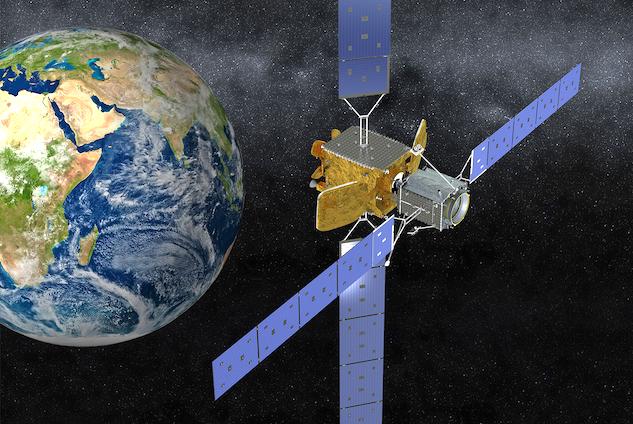 미국 우주항공업체 ′스페이스 로지스틱스′가 개발한 ′임무 연장 위성(MEV)-1′이 상업통신위성 업체 ′인텔샛′의 위성 ′인텔샛 901′과 도킹한 모습의 상상도다. 오른쪽이 MEV-1이다. 노스롭 그루먼 제공