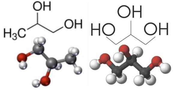 액상 전자담배의 용매로 쓰이는 프로필렌 글리콜(PG. 왼쪽)과 글리세롤(오른쪽. 글리세린(glycerin)이라고도 부른다)의 분자구조. 탄소원자는 회색, 수소원자는 흰색, 산소원자는 빨간색이다. 위키피디아 제공