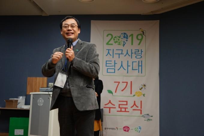 11월 30일 이화여대 학생문화관에서 열린 시민과학축제에서 장이권 교수가 개회사를 하고 있다.