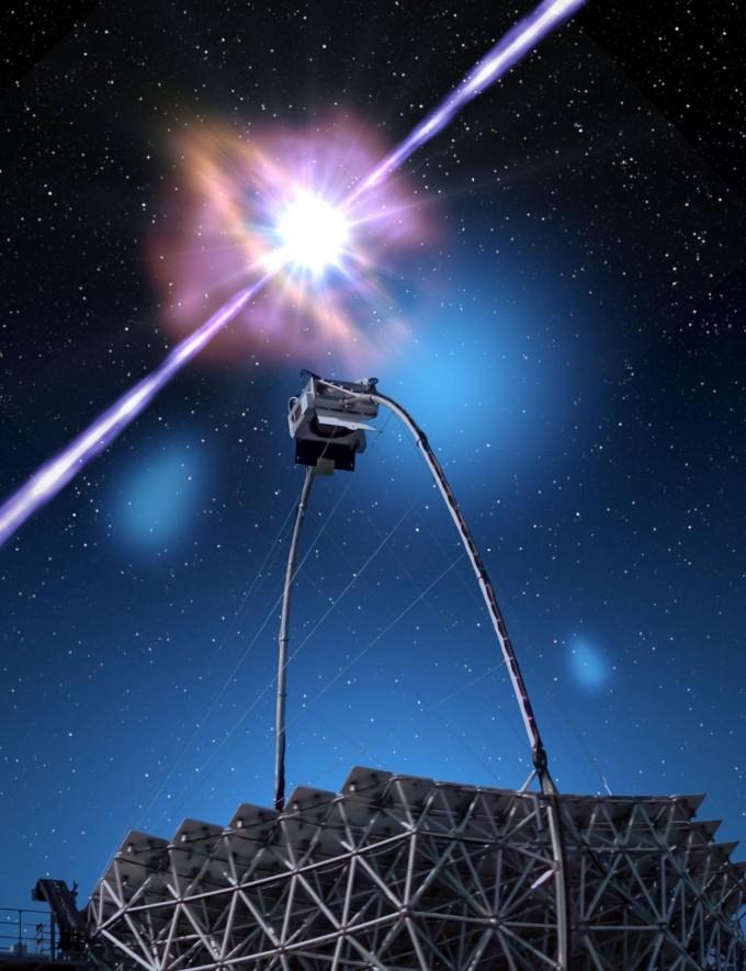 ′매직′ 망원경으로 감마선 폭발을 관측하는 모습을 그린 상상도다. 감마선 폭발은 천체의 회전축 방향으로 강력한 섬광과 감마선을 발생시킨다. 매직 연구단 제공