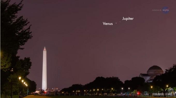 2016년 촬영된 금성과 목성의 만남. NASA 제공