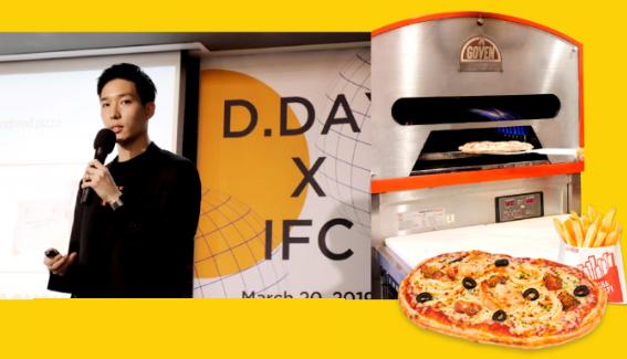 2019년 3월 열린 ′디캠프 X IFC 디데이′ 에서 발표 중인 임 대표. 디데이는 은행권청년창업단 디캠프가 전도유망하 스타트업을 발굴해 최대 3억 원을 투자하고 공간을 제공하는 행사다. 고피자는 최초로 2회 우승한 스타트업이다. 고피자 제공