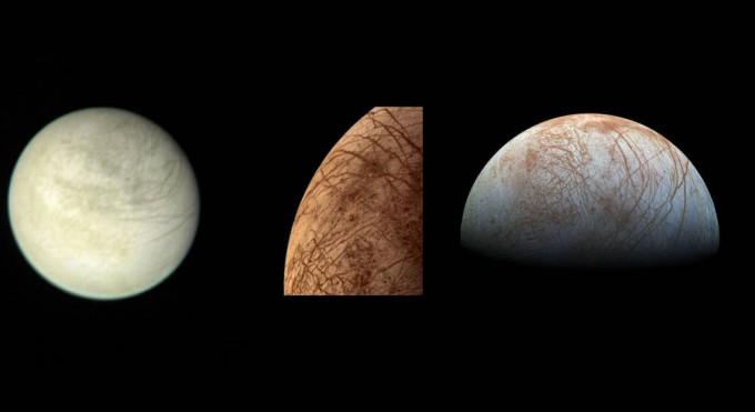 (왼쪽부터)NASA의 행성 탐사선 보이저 1호가 1979 년 3월 2일 290 만 km 떨어진 곳에서 찍은 유로파. 보이저 2호가 1979 년 7월 9일 가까이서 찍은 유로파. 1990년대 NASA의 목성 탐사선 ′갈릴레오′가 찍은 영상으로 재구성한 유로파의 모습. NASA 제트추진연구소 제공