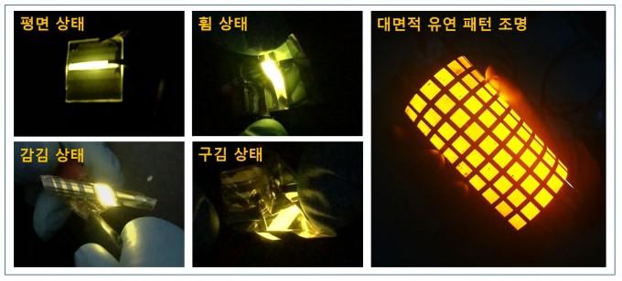 우규희  한국기계연구원 인쇄전자연구실 선임연구팀이 개발한 초고속 대면적 광원으로 투명 전극 기반의 유연 OLED 조명을 만들었다. 휘고 감고 구기고 심지어 세탁을 10ㅎ0회 반복해도 성능 저하가 없었다. 한국기계연구원 제공