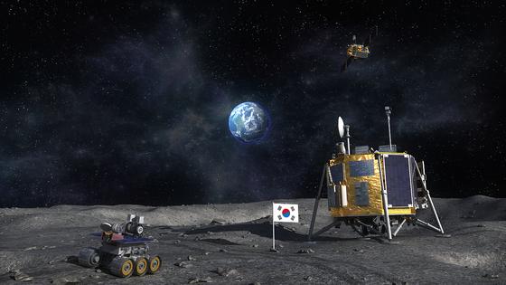 한국의 달 착륙선과 월면차가 달 표면에 올라와 있는 상상도. 한국항공우주연구원 제공