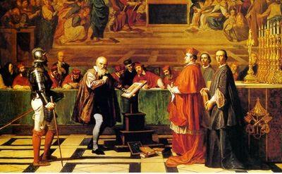 종교재판관 앞에 선 갈릴레오. Joseph-Nicolas Robert-Fleury 그림.