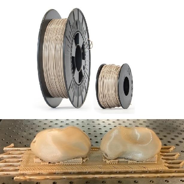 스위스 바젤대학병원 연구팀이 인체에 무해한 열가소성 수지인 PEEK로 만든 3D 프린터용 실(위). 이것을 3D 프린터로 적층해 손목뼈(아래)와 광대뼈 등을 만드는 데 성공했다. 바이오메드 리서치 인터내셔널 제공