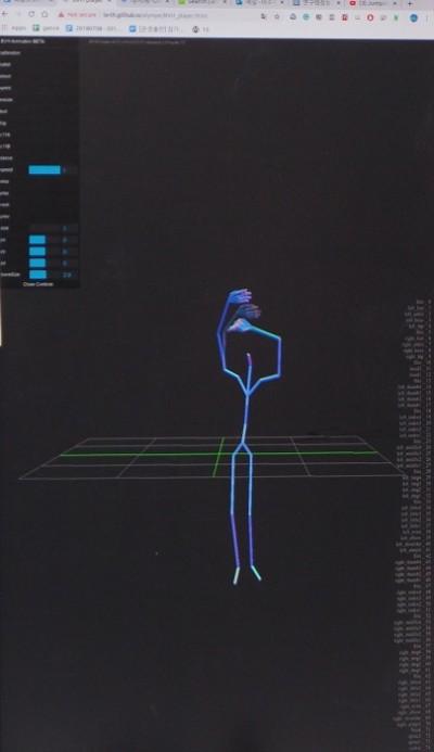이주헌 연구원이 연구 중인 안무 자동 생성 AI를 시연했다. 사진은 청하의 ′벌써 12시′의 영상에서 추출한 춤사위를 그래픽으로 표현한 모습이다. 수원=윤신영 동아사이언스 기자
