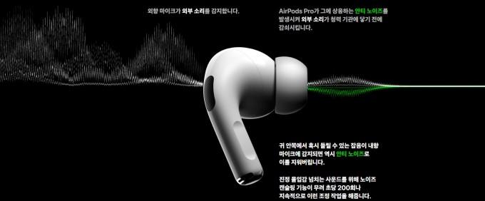 최근 애플은 노이즈캔슬링 기능이 탑재된 무선(블루투스) 이어폰 에어팟 프로를 출시해 관심을 끌고 있다. 외부 소음(왼쪽 흰색 파형으로 묘사)을 인식해 반대 위상의 음을 만들어(녹색) 상쇄시키면 소음이 사라지는(흰 선) 과정을 도식화했다. 애플 제공