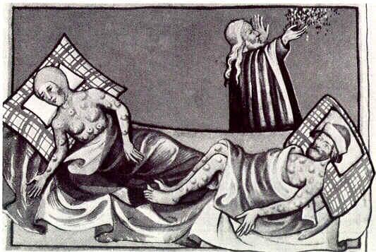 중세시대 유럽에서 묘사됐던 흑사병의 모습이다. 위키피디아 제공