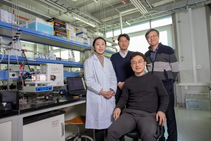 버려지는 폐목재로 유용 화학물질을 생산하는 새로운 촉매 시스템을 개발한 UNIST 연구팀이 모였다. 왼쪽위 부터 시계방향으로 주상훈 교수, 김용환 교수, 장지욱 교수, 고묘화 연구원이다. UNIST 제공