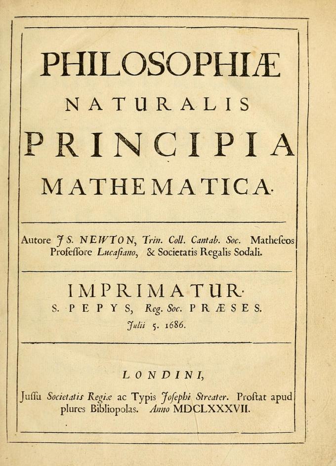 아이작 뉴턴이 1687년에 출판한 《자연철학의 수학적 원리》 표지.