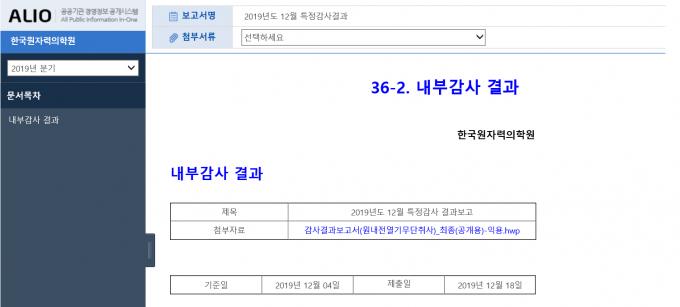 공공기관 경영정보 공개시스템에 공개된 한국원자력의학원 12월 특정감사결과