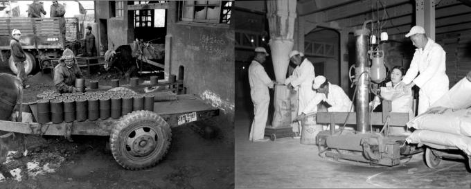 연탄공장 작업 광경(왼쪽)과 제일제당공업주식회사 공장 장면. 한국공학한림원 제공.