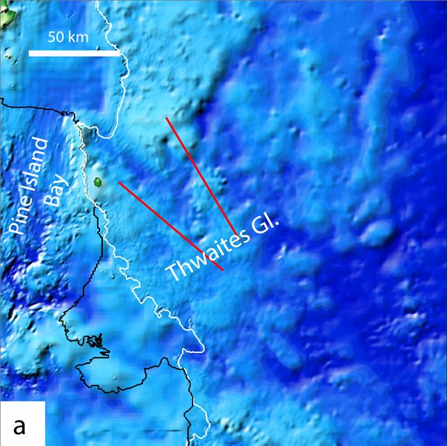 스웨이트 빙하 인근의 지형도다. 내륙 방향 두 번째 산마루(오른쪽 빨간 선)까지 빙하가 물러나 해수가 유입되면 서남극 빙하가 멈출 수 없는 붕괴양상에 접어들 것이라는 경고다. 극지연구소 제공