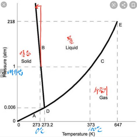 H2O의 상평형그림으로 가로축이 온도, 세로축이 압력(기압)이다. 물의 어는점(녹는점)이 0℃이고 끓는점이 100℃라는 건 대기압(1기압)일 때 얘기다. 스케이트를 타면 얼음에 닿는 면적이 작아 압력이 수백 기압까지 올라가지만 어는점 내림의 효과는 3도 내외에 불과해(빨간 선) 영하 20도에서도 빙판이 미끄러운 이유를 설명하지 못한다.  chem.libretexts.org 제공
