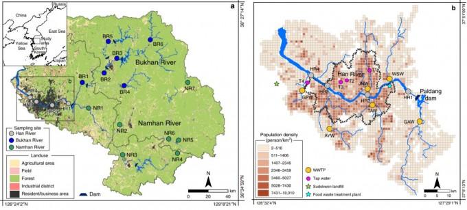 연구팀은 한강 수계 22곳의 물을 채취해 리튬 농도를 측정했다. 왼쪽 그림은 한강변 지도, 오른쪽 그림은 서울 유역의 지도다. 오른쪽 그림에서 색으로 표현된 것은 인구밀도로 인구가 많을수록 리튬 유출이 많음을 뜻한다. 네이처 커뮤니케이션스 제공