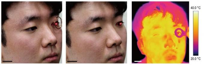 연구팀 관계자가 스마트 콘택트렌즈를 착용한 상태에서 무선 충전(왼쪽)을 하고 LED 불을 켜는 실험을 하고 있다. 연세대 제공