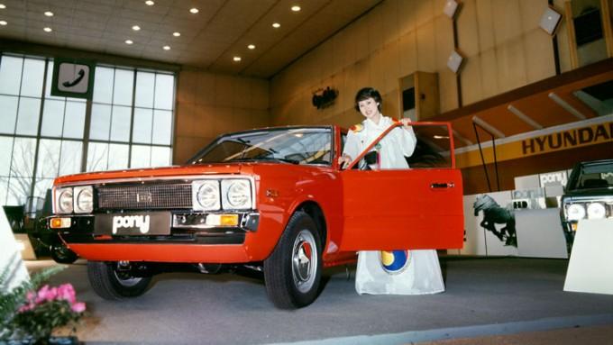 1974년 이탈리아 토리노 모터쇼에서 처음 공개된 포니1의 모습. 국내 첫 고유모델인 포니의 개발로 한국 자동차 산업도 본격적인 발전을 시작했다. 현대자동차 제공