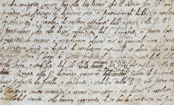 갈릴레이가 1613년 12월 21일 피사 대학의 수학자 베네데토 카스텔리에게 보낸 서한 원본. 천동설을 반박하는 내용이 담겨있다. 영국왕립협회 제공