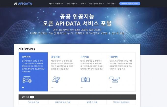 한국전자통신연구원(ETRI)이 2017년부터 국내 기업과 연구자, 개인에게 공개한 인공지능 오픈 API 포털. ETRI 제공