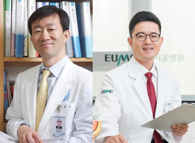 변석수 분당서울대병원 비뇨의학과 교수(왼쪽)와 김명 이대서울병원 비뇨의학과 교수(오른쪽) 공동연구팀이 국내에서 처음으로 대규모 전립선암 가족력 연구를 한 결과, 한국인의 경우에도 서구와 비슷한 비율만큼 전립선암 발생에 가족력이 큰 영향을 미친다는 사실을 알아냈다. 분당서울대병원 제공