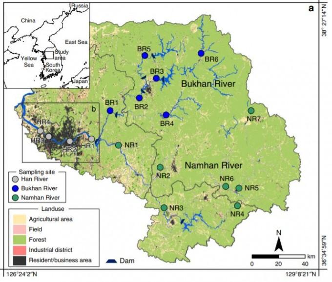 한강이 경금속 리튬에 무방비로 노출됐다는 분석 결과가 나왔다. 류종식 부경대 지구환경과학부 교수 연구팀은 한강의 리튬 농도를 측정한 결과를 이달 4일 국제학술지 ′네이처 커뮤니케이션스′에 발표했다. 연구팀이 측정한 수계의 모습이다. 네이처 커뮤니케이션스 제공