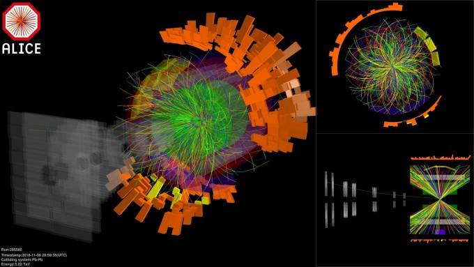 LHC의 주요 검출기 가운데 하나로 한국도 연구에 참여하고 있는 ′앨리스(ALICE)′로 납이온을 충돌시켰을 때 발생하는 갖가지 입자의 궤적을 시각화한 그림이다. 납 이온을 충돌시켜 최대 1000조 전자볼트(eV)에 달하는 고에너지 상태를 만들 수 있다. LHC에서는 이 에너지로 쿼크-글루온 플라스마 상태를 만들어 우주 초기 상태를 연구한다. CERN 제공