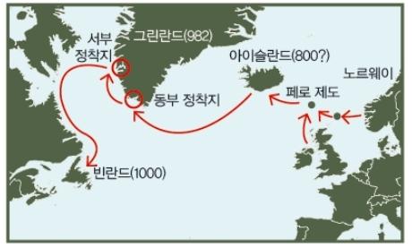 바이킹의 북대서양 원정. 바이킹은 험한 북대서양을 항해하며 페로 제도, 아이슬란드, 그린란드, 빈란드(현재의 북아메리카 뉴펀들랜드)를 발견했다. 동아사이언스DB