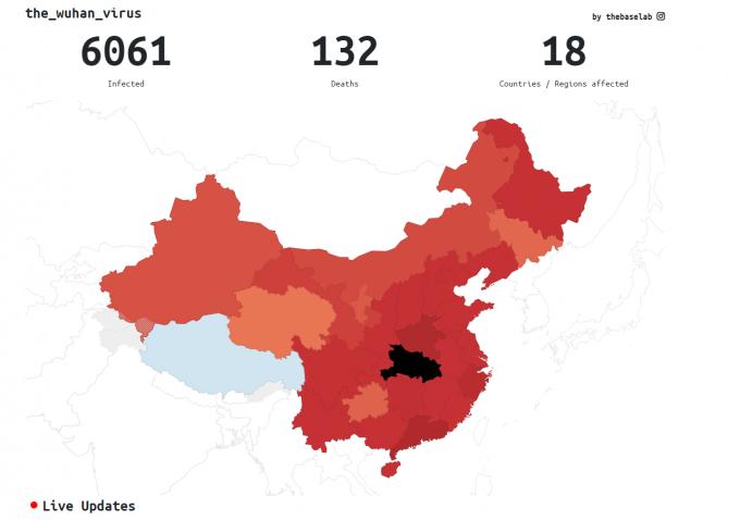 중국 후베이성 우한시에서 발생한 신종 코로나바이러스로 인한 자 수가 29일 오후 1시 현재 6061명이며, 대부분이 후베이성 주민들(3554명)이다. 감염자 중 132명이 사망했다. 중국 외에도 태국과 한국, 일본, 프랑스, 미국, 캐나다, 독일 등 18개국에서 확진자가 여럿 나왔다. 더베이스랩 제공