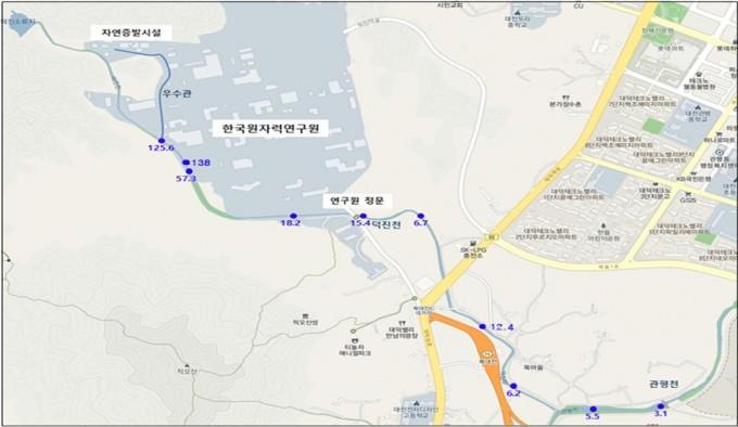 한국원자력연구원이 측정한 연구원 주변 하천 토양 세슘137 농도 현황. 원안위 제공.