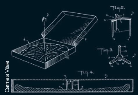 카멜라 비탈리가 특허 서류에 그린 피자 세이버의 도안. 처음에는 '포장물 보호기'라는 뜻의 '패키지 세이버'라는 이름으로 불렸다. Carmela Vitale 제공