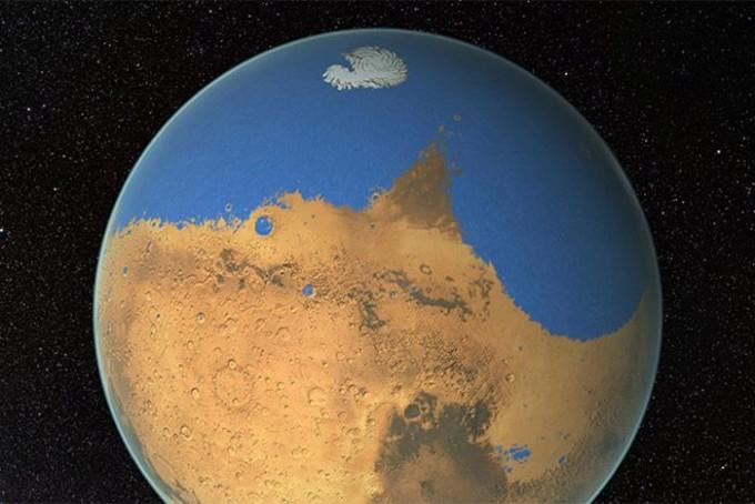 화성 연구자들이 추측하는 과거 화성의 상상도다. 화성은 물이 풍부한 행성이었으나 현재는 극지에 얼음 형태로만 존재하는데, 화성의 물이 계절 변화에 따라 화성 밖으로 사라지는 것으로 나타났다. 미국항공우주국(NASA) 제공
