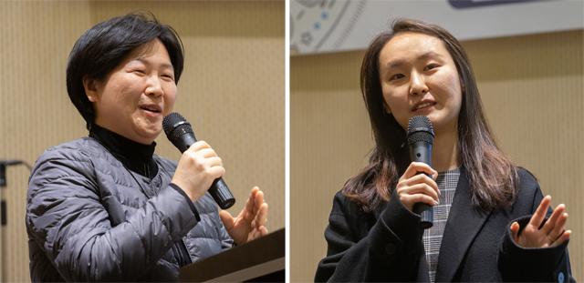 반도체 전문가 박완재 세메스 수석연구원(왼쪽)과 배터리 전문가 윤효정 LG화학 기술연구원 책임연구원이 '세상을 바꾸는 여성엔지니어 토크콘서트'에서 강연을 하고있다. 과학동아 제공