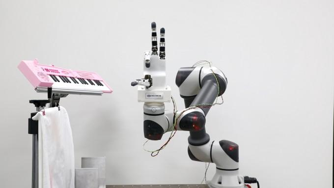 연구팀이 개발한 로봇 손이 손가락을 굽히는 모습이다. 한국기계연구원 제공