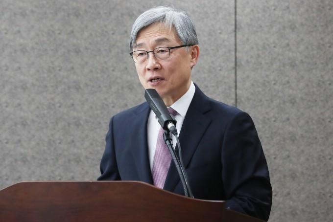최재형 감사원장이 19일 서울 종로구 감사원에서 열린 신년 기자간담회에서 2020년도 운영방향을 밝히고 있다. 연합뉴스 제공