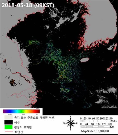 천리안1호를 이용해 괭생이모자반의 창궐 모습을 관측한 영상이다. 녹색 표시가 괭생이모자반이 많은 지역이다. 해양과학기술원 제공