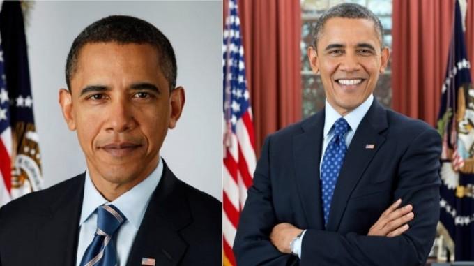 버락 오바마 미국 전(前) 대통령의 2008년 취임 무렵(왼쪽)과 2012년 취임 무렵(오른쪽) 모습이다. 4년 사이 흰머리가 부쩍 늘었다. 제공 백악관