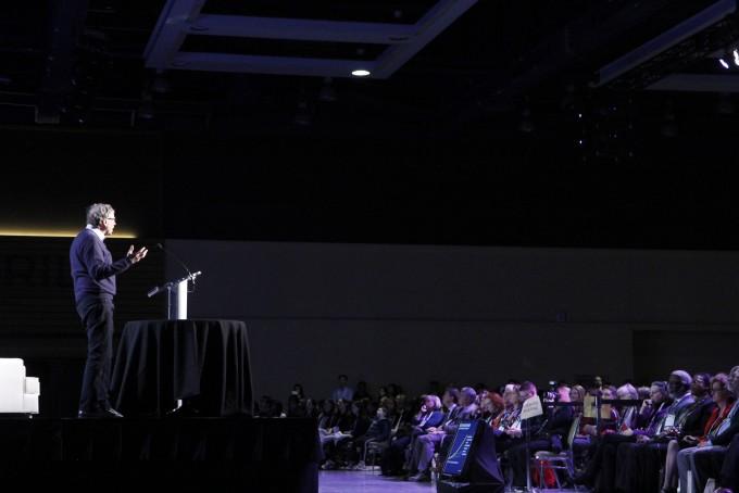 빌 게이츠 창업자는 14일(현지시간) 미국 시애틀에서 열린 미국과학진흥협회(AAAS) 연례회의에서 참가해 기조강연을 진행했다. 시애틀=고재원 기자 jawon1212@donga.com