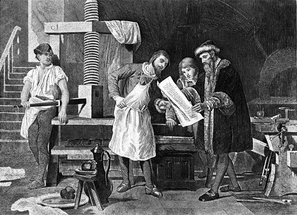구텐베르크의 인쇄소 풍경을 그린 19세기 그림. 구텐베르크는 서양에서 처음으로 금속활자를 발명해 전 유럽에 인쇄술을 퍼뜨렸다. 게티이미지뱅크 제공