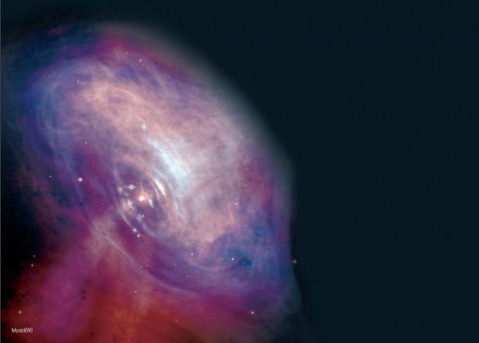 게 성운 중심의 펄서를 가시광선과 엑스선으로 관측하여 합성한 모습이다. Mysid/위키피디아 제공