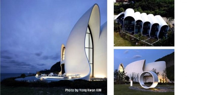 2017년 울릉도에 건설된 힐링스테이 코스모스 리조트의 모습이다. 초고강도의 슈퍼콘크리트를 써서 얇고 자유로운 벽면을 만들 수 있었다. 세계 최초로 건축에 슈퍼콘크리트를 적용한 건축물이라는 기록도 갖고 있다. 한국공학한림원이 선정하는 '2019년 산업기술성과'에 꼽혔다. 한국공학한림원 제공