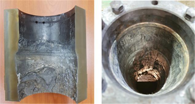 재료연구소는 17일 국내 중소기업인 도경기술에 알루미늄합금 고압 주조기에 들어가는 인젝션 슬리브 소재 기술을 제공했다고 밝혔다. 기술을 제공하기 전과 후 인젝션 슬리브 내부 모습. 재료연구소 제공